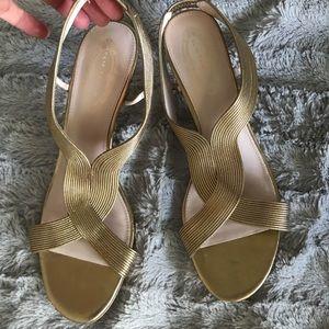 Elie Tahari Gold wrap heels